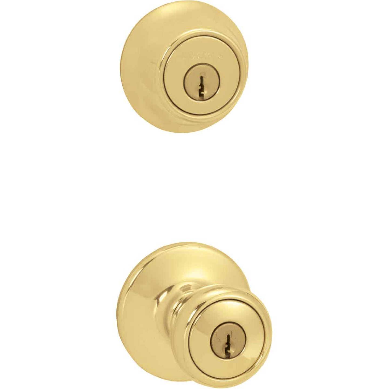 Kwikset Polished Brass Deadbolt and Door Knob Combo Image 1