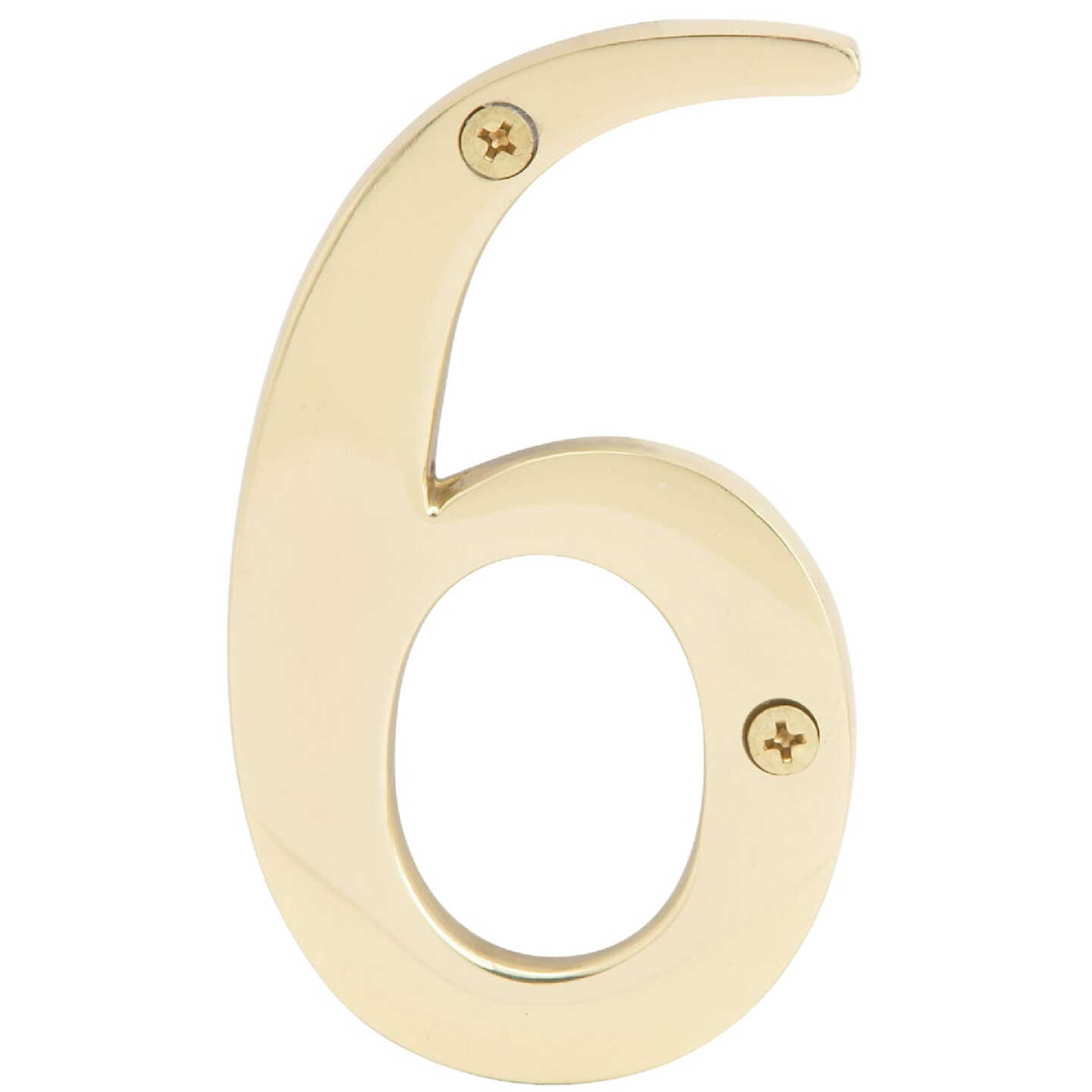 Hy-Ko 4 In. Polished Brass House Number Six Image 1