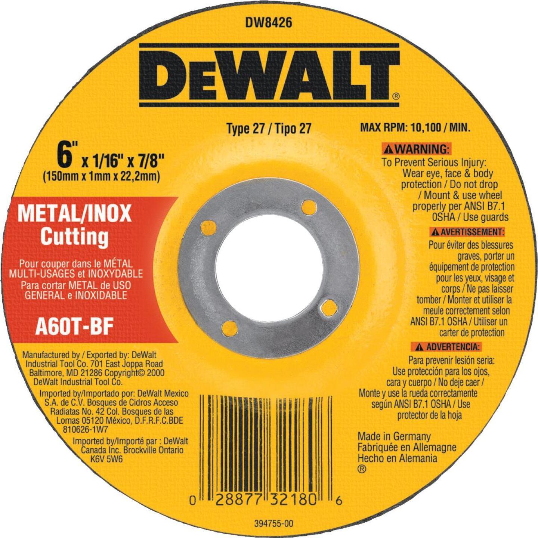 DeWalt HP Type 27 6 In.x  0.045 In. x 7/8 In. Metal/Stainless Cut-Off Wheel Image 1