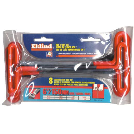 Eklind Standard 6 In. Cushion Grip T-Handle Hex Key Set, 8-Piece