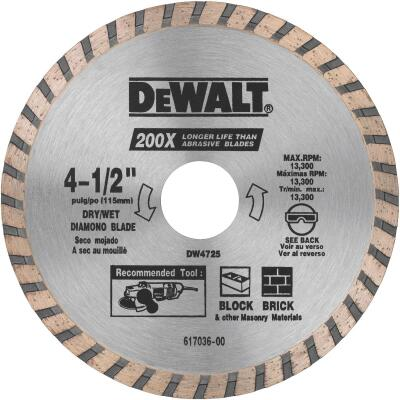 DeWalt High Performance 4-1/2 In. Turbo Rim Dry/Wet Cut Diamond Blade