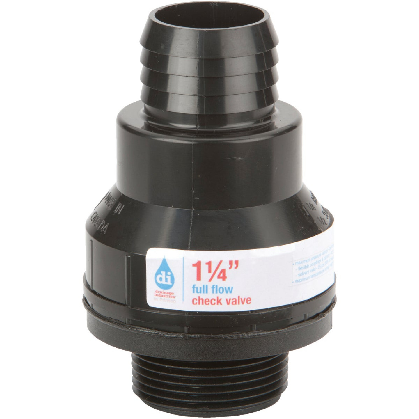 Drainage Industries 1-1/4 In. ABS Thermoplastic Full-Flow Sump Pump Check Valve Image 1
